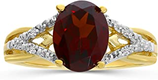 Garnet and Diamond Ring in 14K Yellow Gold