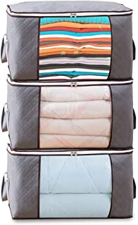 T Tersely 3PCS Thick Strong Clothes Quilt Blanket Storage Bag With Zips, Duvet Storage Bag King Size, Breathable Fabric Un...