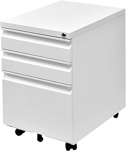 lowest Giantex Rolling Mobile File W/3 Lockable Drawers and Pedestal for Office Study Room Home wholesale Steel discount Storage Cabinet (White) sale