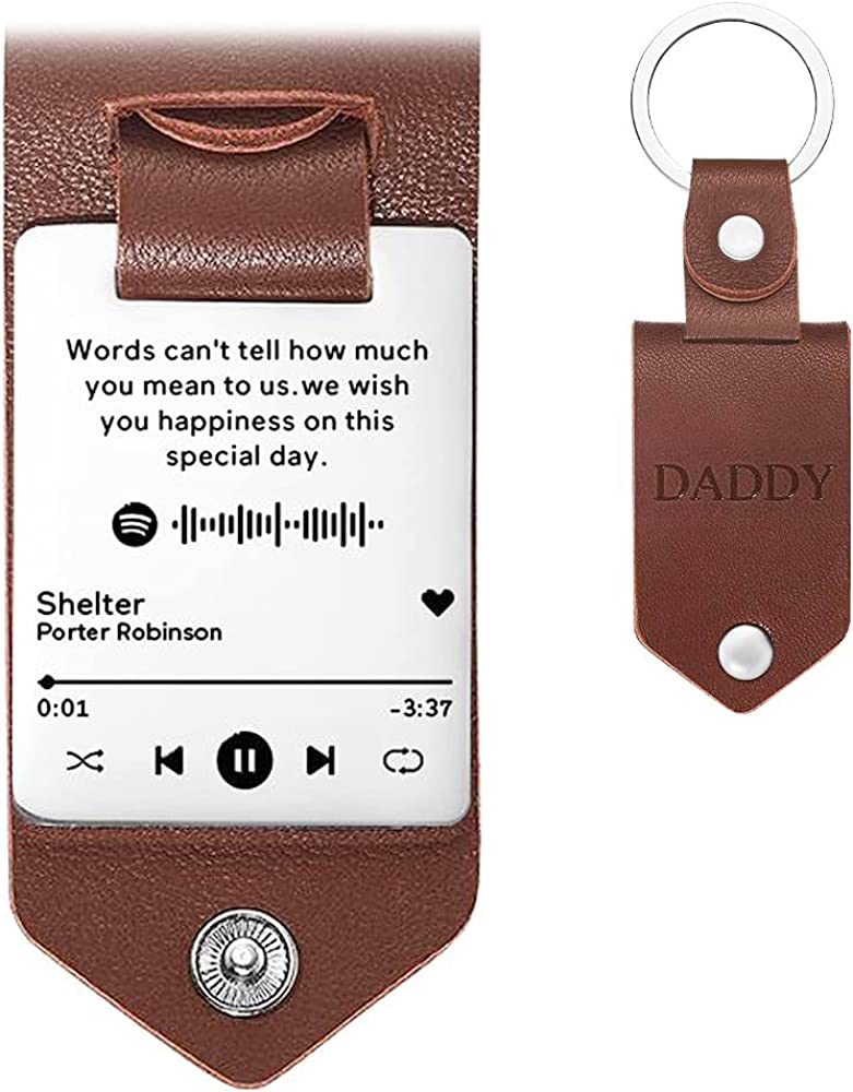 SOUFEEL Personalized Spotify Leather Keychain Custom Scannable Music Keychain Engraved with Text Keyring Gifts for Dad Mom