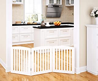 PAWLAND Wooden Freestanding Foldable Pet Gate for Dogs, 24 inch 3 Panel Step Over Fence, Dog Gate for The House, Doorway, Stairs, Extra Wide, White