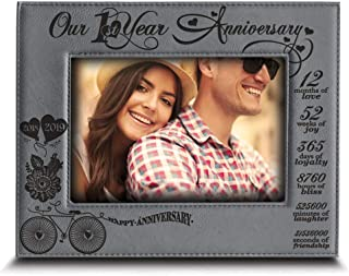 BELLA BUSTA - Our 1st Year Anniversary - Months, Week, Days, Hours, Minutes -Engraved Leather Picture Frame for Couple-Our 1st (5