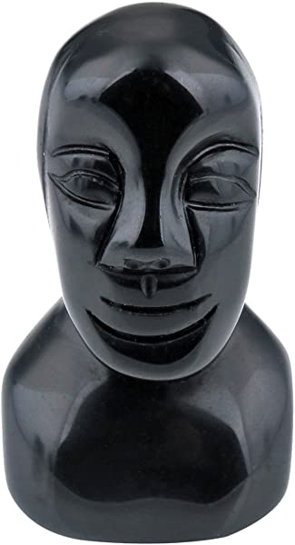 SUNYIK Easter Island Head Moai Monolith Statue Black Obsidian Carved Sculpture 2