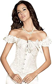 SHAPERX Women's Lace Up Boned Sexy Plus Size Overbust Corset Bustier Top with G-String
