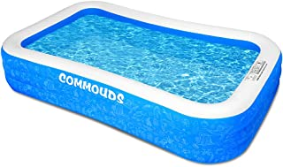 """COMMOUDS Inflatable Swimming Pool, 130""""X72""""X22"""", Full-Sized Blow up Family Pool for Kids, Baby, Children, Adults, Large Du..."""