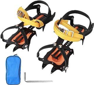 HERCHR Crampons pour Bottes de randonnée 10 Dents Crampons de Glace Pointes de Neige réglables Chaussures Escalade en Plei...
