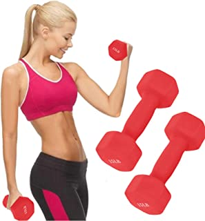 XINQITE 15 Lb Dumbbell Set of 2, A Pair Neoprene Coated Weights 15 Pounds, Hex Dumbbells for Women Men (Red)