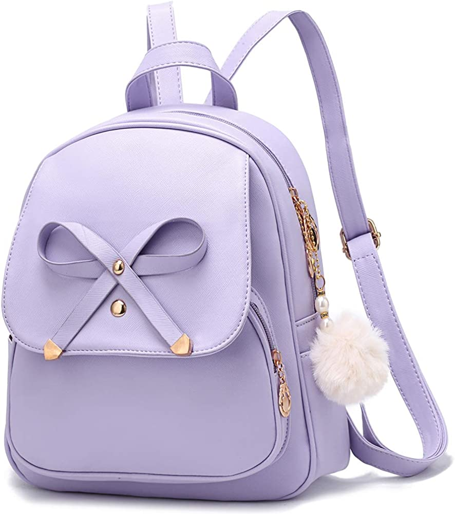 Girls Bowknot Fashion Backpack Cute Leather Backpack Mini Backpack Purse for Women Satchel School Bags Casual Travel Daypacks