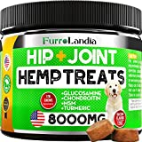 FurroLandia Hemp Hip & Joint Supplement for Dogs - 170 Soft Chews - Made in USA - Glucosamine for Dogs - Chondroitin - MSM - Turmeric - Hemp Seed Oil - Natural Pain Relief & Mobility - Bacon Flavor