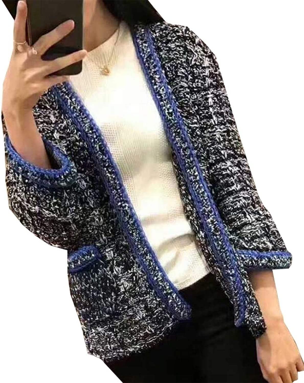 PujinggeCA Womens Long Sleeve Linen Tweed Blazer One Button Office Work Jacket