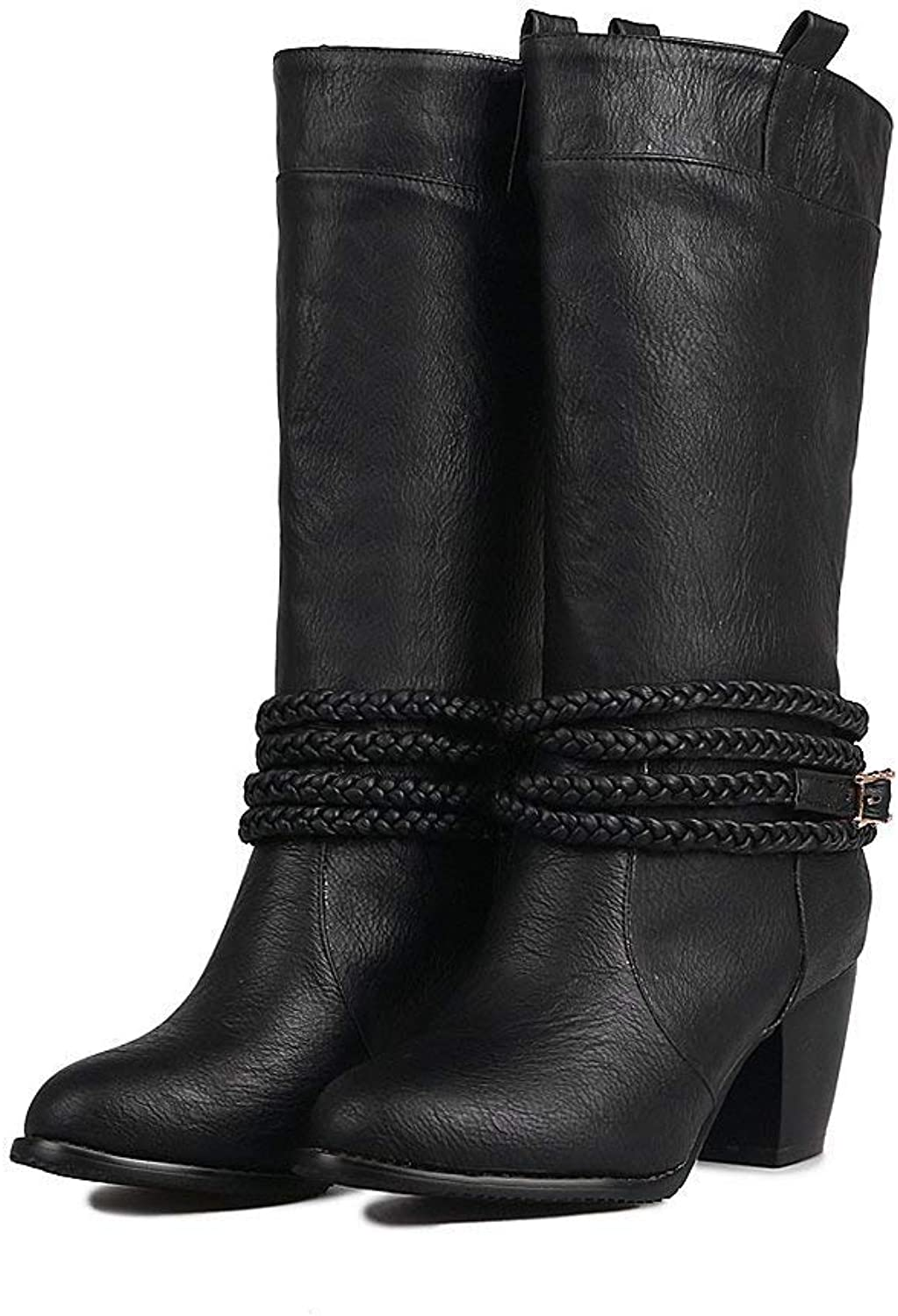 Womens Mid Calf Leather Boots Chunky Mid Heels Pull on Booties