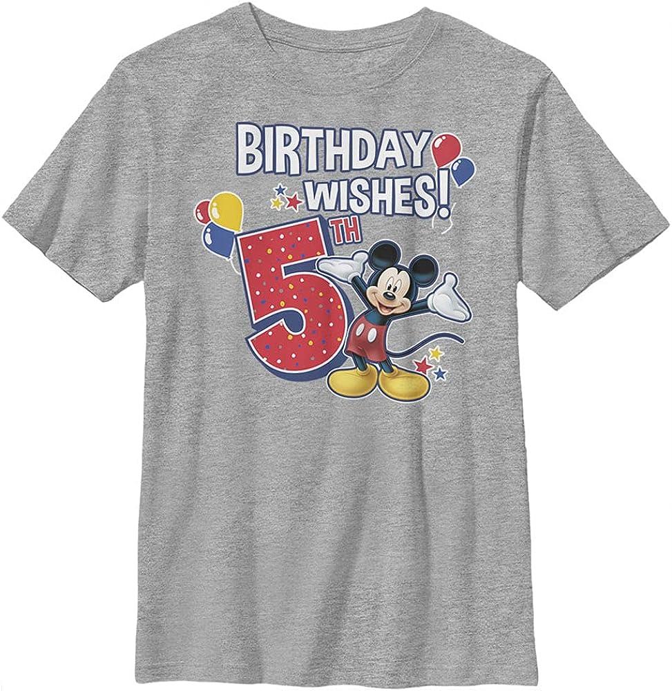 Disney Characters Mickey Birthday 5 Boy's Heather Crew Tee
