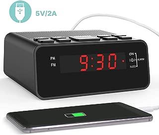 Clock Radio, Digital FM Bedside Alarm Clock Radio with USB Charger Port for Bedroom Guestroom or Livingroom