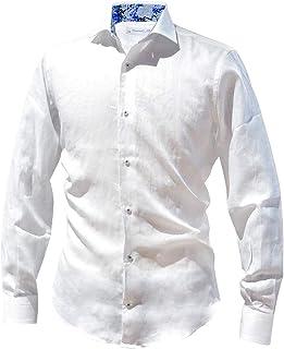 POGGIANTI1985 (ポジャンティ) リネンシャツ 麻シャツ カジュアルシャツ ホワイト ブランド シャツ メンズ カジュアル