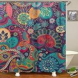 QCWN - Cortina de ducha con diseño de mandala étnica, diseño geométrico, redondo, estampado floral, juego de baño con ganchos, poliéster, 3, 59'x70'