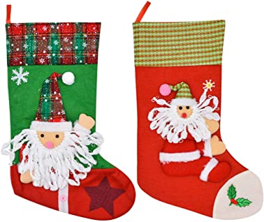 Tingxx Three Dimensional Christmas Stockings Christmas Decorations Gift Bags Christmas Home Fireplace Ornaments 2 Piece_Set_A