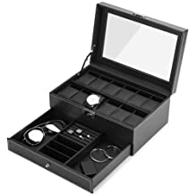 JS NOVA JUNS Watch Boxes for Men Women, 12 Slots PU Leather Lockable Watch Storage Boxes with Jewelry Display Drawer, Black