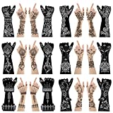 Xmasir 12 Large Sheets Henna Tattoo Stencil Kit for Hand Forearm Body Paint, Indian Arabian Temporary Tattoo Templates for Women Girls
