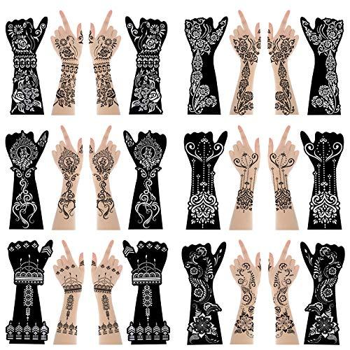 XMASIR 12 Große Blätter Henna Tattoo Schablonen Set für Hand Unterarm Körperfarbe, Indian Arabian Temporäre Tattoo Vorlagen für Frauen Mädchen (S9)