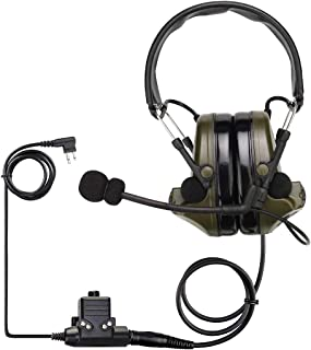 Retevis EHK007 Noise Cancelling Headset,Hearing Protection Muffs,Tactical Ear Protection for Motorola Two Way Radio(Black,...