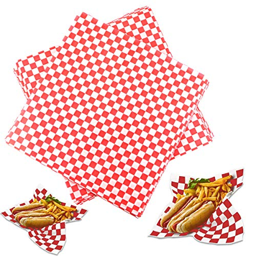 Hslife 100 Sheets Red and White Checkered Dry Waxed Deli Paper Sheets, Paper Liners for Plastic Food Basket, Wrapping Bread and Sandwiches