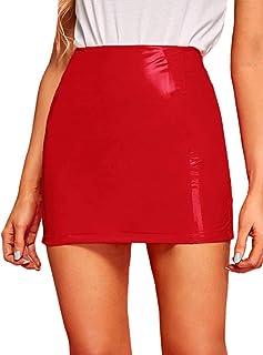 MakeMeChic Women's Neon Zip Back Leather Skirt PU Bodycon Short Mini Skirt