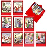 NobleWorks, Traces of Nuts - 10 Funny Christmas Cards with Envelopes - Adult Cartoon Humor, Assorted Boxed Greeting Cards - Xmas Stationery Set A1250