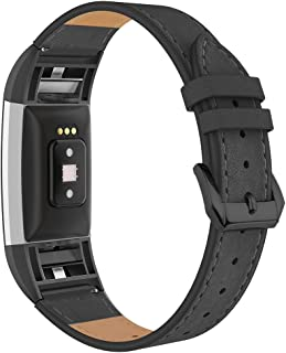 Simpeak Leather Band Compatible with Fitbit Charge 2,  Genuine Leather Wristband Strap Replacement for Fitbit Charge 2,  Black Band+Black Adaptor