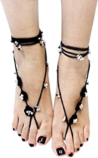 Black Bohemian Floral Crochet Toe Anklet Set Summer Beach Sandal Soleless Shoe
