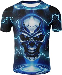 3D Print T-Shirt Top Blouse for Men, Summer Short Sleeve Fashion Tees Shirts