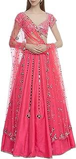 Pink Indian Handmade Mirror Lace work Lehenga Chaniya Choli Navratri Women wear By Designers 8446