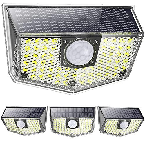 OUSFOT Luce Solare Led Esterno [4 Pezzi] IP67 Impermeabile 4 Modalità con Sensore di Movimento Faro Led Esterno con Pannello Solare Ultra Luminosa 60LED 1200mAh per Giardino Parete