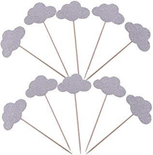 Aimto Glitter Cloud Cupcake Toppers Silver Party Cupcake Decorations for Birthday | Baby Shower | Wedding | Engagement | Christmas | Kids' Theme Party Dessert Decorations Topper, Pack of 50