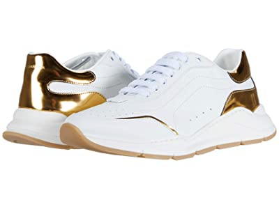 Dolce & Gabbana Kids Sneaker Classica Vitello Nappa (Little Kid/Big Kid) (Bianco/Oro Chiaro) Kid
