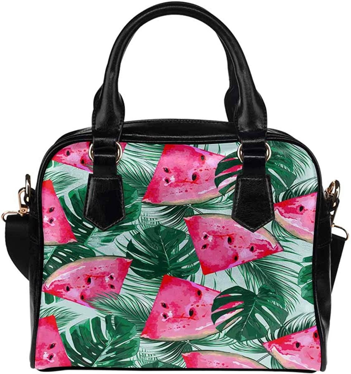 INTERESTPRINT Watercolor Watermelon Leaves Leather 5 popular PU Limited price Lady Purse