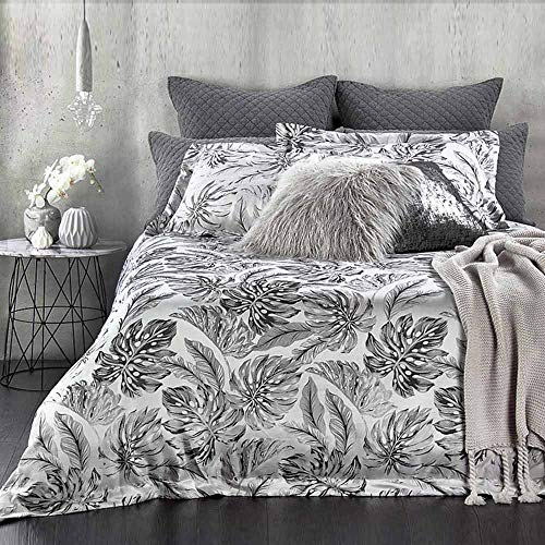 NANKO Duvet Cover Queen Set, 3 Piece - Black and White Leaf Leaves Plant Printed Pattern 90x90 Luxury Microfiber Quilt Cover with Zipper Closure, Ties - for Men Women Farmhouse Country Modern