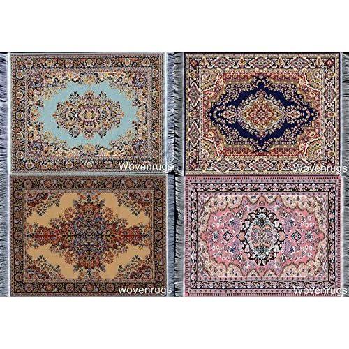 Vintage Doll House Miniature Carpet Turkish Woven Floral Rug Floor Cover