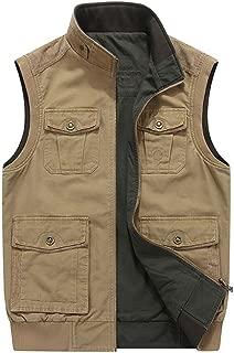 CRYSULLY Men's Reversible Cotton Casual Gilet Vest Outdoor Multi Pockets Full Zip Fish Cargo Vests
