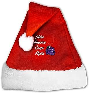 Santa Hat Make America Grape Again Unisex Velvet Fabric Christmas Hat with Plush Brim