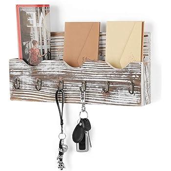 Colore Legno Naturale Nandae Organizzatore Porta Posta in Legno fissato al Muro con 3 Fessure per Posta 6 Ganci Chiave per Ingresso casa Ufficio