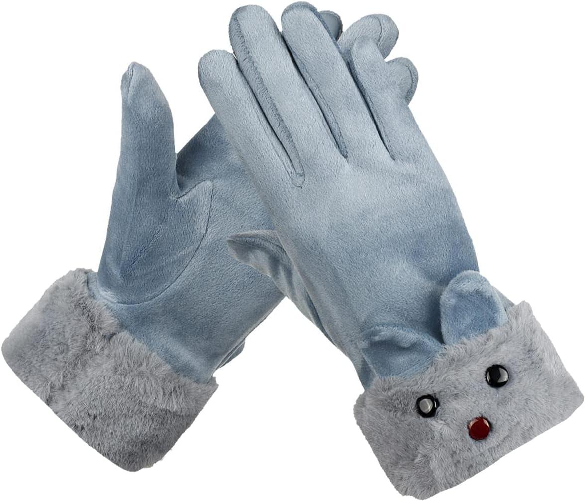 Lupovin-Keep Warm Winter Ardent Women Gloves Outside Sport Touch Screen Windproof Full-Finger Gloves Non-Slip (Color : Light Blue)