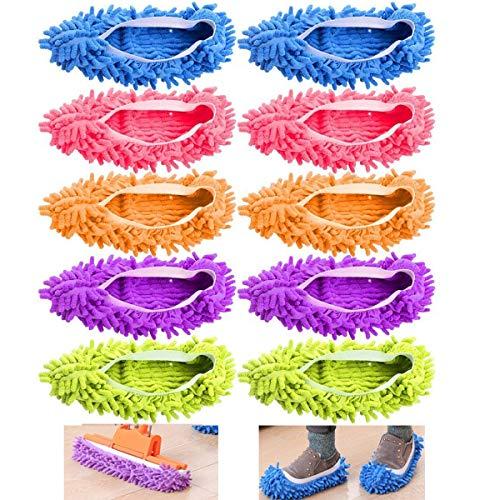 EigPluy 10 PCS/5 Pares Plumero Fregona Zapatos Cubierta, Multi Función Chenille Fibra Lavable Polvo Fregona Zapatillas Piso Limpieza Zapatos para Baño, Oficina, Cocina, Casa Pulido Limpieza