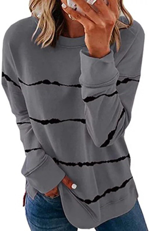 Womens Striped Color Block Sweatshirts Long Sleeve Pullover Hoodies Lightweight Patchwork Sweatshirts Loose Tops