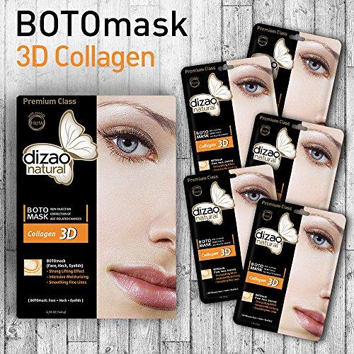 3D Collagen (masque de 5 feuilles) DIZAO Masque facial naturel BOTO (visage, cou, paupières) Forte effet de levage, humectant intensif, Lissage des lignes fines.