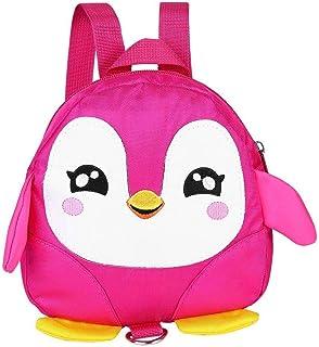 حقيبة ظهر بحزام أمان للأطفال بتصميم بطريق كرتوني حقيبة مدرسية مضادة للضياع (زهري)