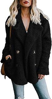 Byinns Women's Lapel Plush Coat Winter Open Front Plus Size Jacket Outwear with Pockets