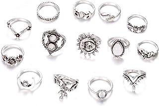 10-15 PCS Knuckle Stacking Rings for Women Girls,Boho Vintage Geometric Moon Sun Crystal Midi Finger Rings Set
