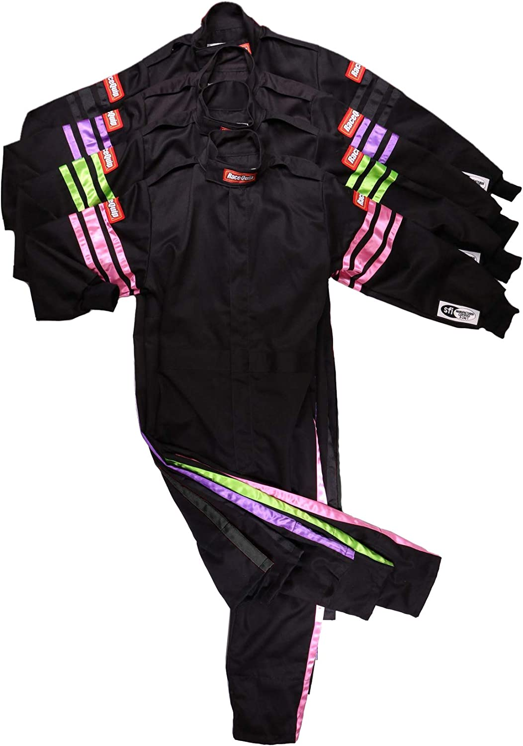 RaceQuip Racing Driver Fire Suit One Piece Single Layer SFI 3.2A// 1 Black Junior XX-Small 1959990