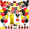 """Mickey Mouse 1st Birthday Party Supplies Decorations 57Pcs - Happy Birthday Banner """"ONE""""Banner Balloons """"1"""" Foil Balloon Hat Door Sign Cupcake Toppers Birthday Decorations for Boys Girls Kids Babies by"""