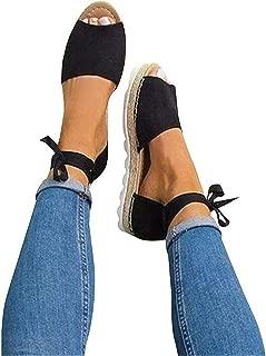 Womens Espadrille Flat Sandals Ankle Strap Open Toe Summer Platform Wedge Sandals